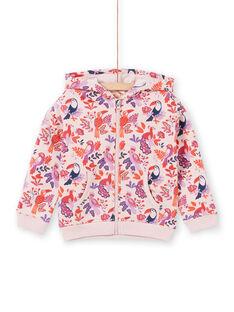 Sudadera rosa y violeta con capucha y estampado de loros y flores para niña MAJOHAUJOG3 / 21W90113JGHD314