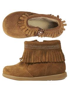 Botas de piel de serraje de color camel con flecos para bebé niña GBFBOOTINDC / 19WK37X2D0D804