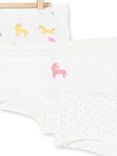 Pack de 3 shorties de color blanco, amarillo y rosa para niña LEFAHOTLIC / 21SH1121SHY001