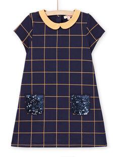 Vestido de manga corta de color azul noche de cuadros amarillos para niña MAJOROB1 / 21W90122ROBC205