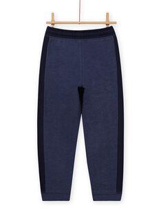 Pantalón de chándal de color azul jaspeado y azul marino para niño MOJOJOB4 / 21W90213JGB222