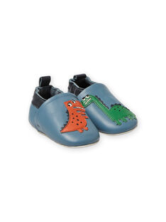Zapatillas de casa de piel de color azul con estampado de dinosaurios para bebé niño MUCHOSAUR / 21XK3822D3SC201