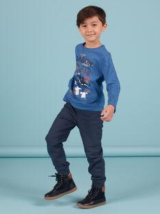 Pantalón de chándal de color azul noche con estampado de estrellas para niño MOPLAPAN2 / 21W902O2PAN705