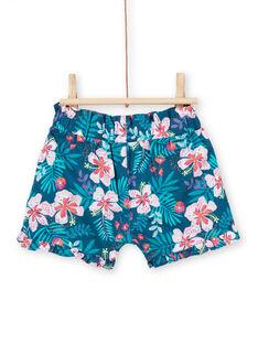 Short de color azul y rosa, con estampado floral, para bebé niña LIBONSHO / 21SG09W1SHO716