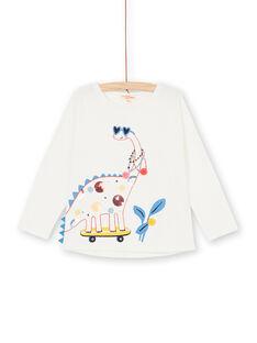 Camiseta blanca y azul, con estampado de dinosaurio, para bebé niña LAHATEE / 21S901X1TML001