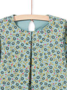 Blusa de manga larga de color verde claro con estampado floral para niña MAKATEE5 / 21W901I5TML612