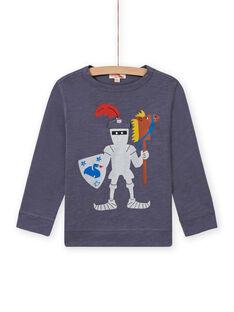 Camiseta gris con estampado de caballero para niño MOPLATEE4 / 21W902O3TMLJ902