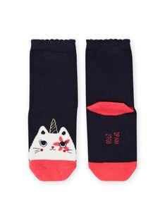 Calcetines de color azul noche con estampado de gato-unicornio para niña MYAMIXCHO / 21WI01J1SOQC205