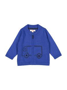 Cárdigan de punto con cremallera de color azul para bebé niño FUJOGIL3 / 19SG1033GIL703