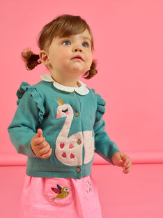 Cárdigan caqui con estampado de cisne para bebé niña MIKACAR / 21WG09I1CAR612