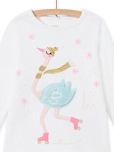 Pijama de color crudo de terciopelo con estampado de cisne para niña MEFAPYJOST / 21WH1195PYJ001