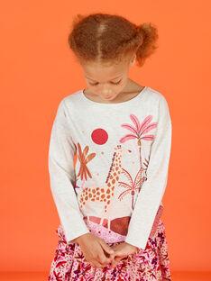 Camiseta de color crudo jaspeado con estampado de fantasía para niña MACOMTEE2 / 21W901L3TML006