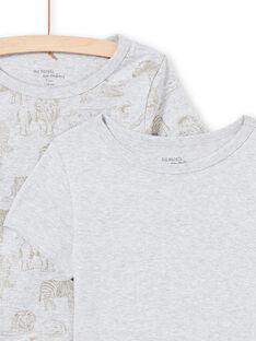 Pack de 2 camisetas de manga corta a juego de color gris claro jaspeado para niño MEGOTELSAV / 21WH12B1HLIA010