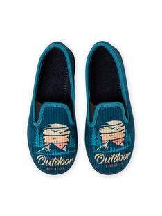 Patucos de color azul petróleo con estampado de paisaje para niño MOPANTOUT / 21XK3621D0B715