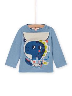 Camiseta azul con estampado de dragón astronauta para bebé niño MUPLATEE1 / 21WG10O2TML216