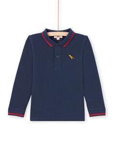Polo de manga larga liso de color azul noche para niño MOJOPOL1 / 21W90216POL705