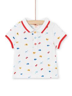 Polo con estampado de dinosaurios de color blanco, para bebé niño LUCANPOL / 21SG10M1POL000