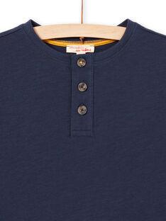 Camiseta de manga larga de color azul noche con cuello tunecino para niño MOJOTUN1 / 21W90212TML705