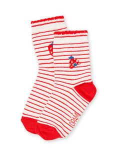 Calcetines de color crudo y rojo para bebé niña LYICANSOQ / 21SI09M1SOQ001