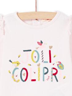 Camiseta de manga larga de color rosa con texto «Joli Colibri» para bebé niña MIKATEE / 21WG09I1TML632
