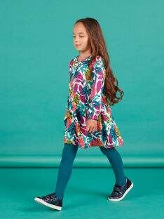 Vestido rosa de twill con estampado floral para niña MATUROB2 / 21W901K4ROBH705