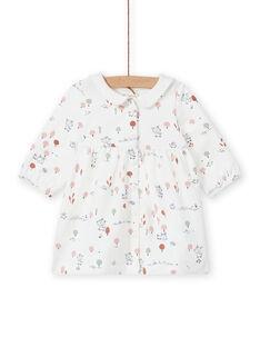 Vestido de color crudo con estampado de fantasía para recién nacido niña MOU1ROB / 21WF0341ROB001
