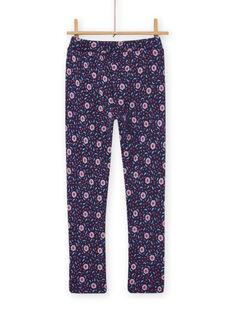 Pantalón azul con estampado floral para niña MAPLAPANT1 / 21W901O1PANC202