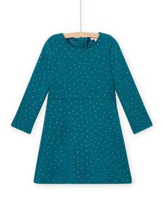 Vestido evasé de color azul pato de lunares de muletón para niña MAJOLROB3 / 21W901N2ROB714