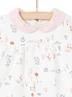 Camisa blanca y leggings rosas con estampado de fantasía para niña recién nacida MOU1ENS2 / 21WF0341ENS001
