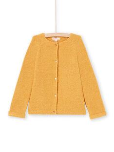 Cárdigan de manga larga liso de color mostaza para niña MAJOCAR3 / 21W90116CARB106
