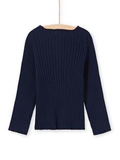Jersey liso de color azul marino de manga larga para niña MAJOPULL1 / 21W901N3PUL070