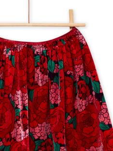 Falda de terciopelo con estampado floral para niña MAFUNJUP2 / 21W901M3JUPH703
