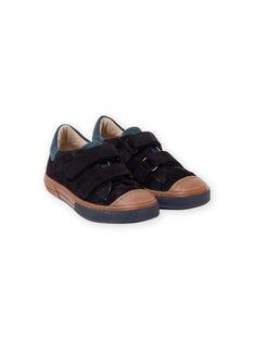 Zapatillas de piel vuelta de color azul marino y camel para niño MOBASART / 21XK3651D3F070