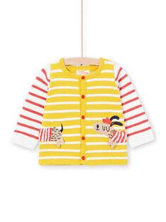 Cárdigan de punto de rayas de color amarillo, para bebé niño LUNOGIL / 21SG10L1GIL106