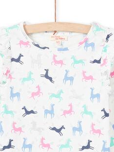 Camiseta de color crudo y rosa con estampado de unicornio para niña MAPLATEE3 / 21W901O2TML001