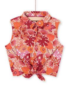 Camisa naranja y rosa con estampado floral LATERCHEM / 21S901V1BLU001