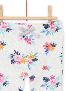 Pantalón de chándal de color gris jaspeado con estampado floral para bebé niña MIPLABAJOG / 21WG09O1JGBJ920