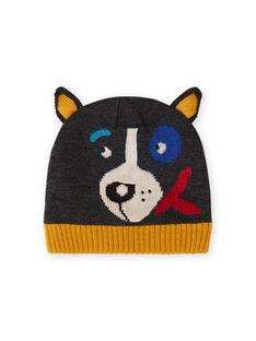 Gorro de color antracita con estampado de perro para niño MYOGROBON3 / 21WI0252BON944