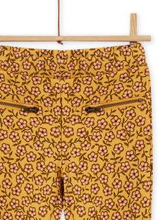 Pantalón forrado amarillo con estampado floral para niña MASAUPANT1 / 21W901P2PANB107