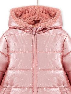 Parka rosa reversible con capucha de pelo artificial para niña MACOMPARKA / 21W90164PAR303