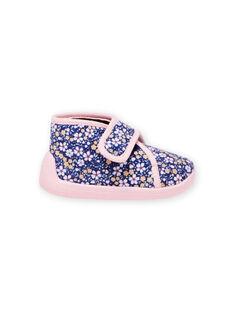 Patucos de color azul marino con estampado floral para bebé niña MIPANTFLOWER / 21XK3721D0A070