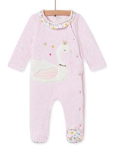 Pelele de terciopelo rosa jaspeado con estampado de cisne para bebé niña MEFIGRESWA / 21WH1385GRED314