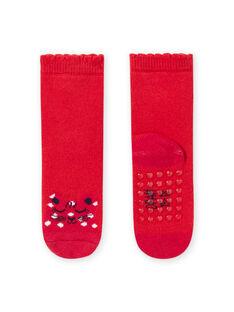 Calcetines de color rojo con estampado de leopardo para bebé niña MYIJOSOQB1 / 21WI0911SOQ511