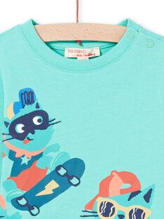 Camiseta turquesa con estampado de gatos skaters para bebé niño MUTUTEE2 / 21WG10K1TML209