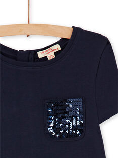 Vestido evasé de punto milano azul marino y mostaza LAJOROB2 / 21S90134D2FC205