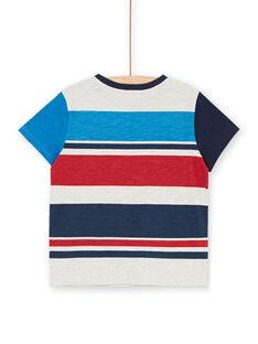 Camiseta de rayas de color gris jaspeado y azul, para niño LOHATI2 / 21S902X1TMCJ920