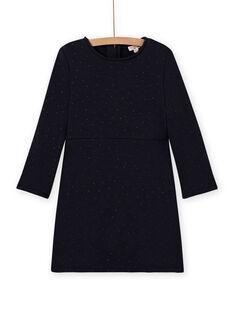 Vestido evasé de color azul marino de muletón para niña MAJOLROB1 / 21W901N3ROB070