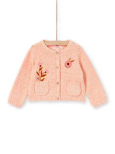Cárdigan rosa de punto para bebé niña LINAUCAR2 / 21SG09L1CAR318