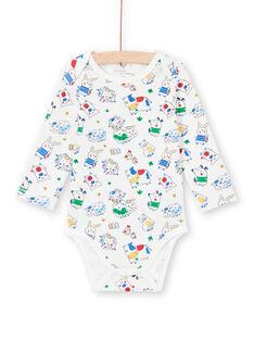 Body de manga larga de color crudo con estampado de animales para bebé niño MEGABODFER / 21WH14B8BDL001