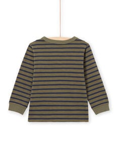 Camiseta de manga larga de rayas de color caqui y azul marino para niño MOJOTIRIB3 / 21W90225TMLG631